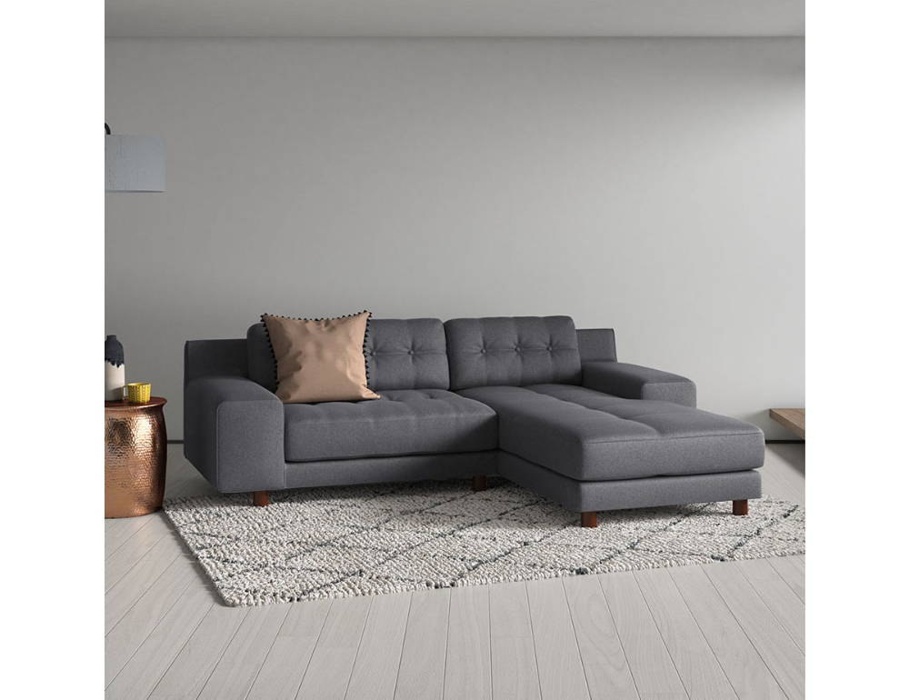 Hendricks 3 Seater Charcoal Fabric Right Hand Chaise Sofa In 2020 Chaise Sofa Blue Velvet Fabric Chaise