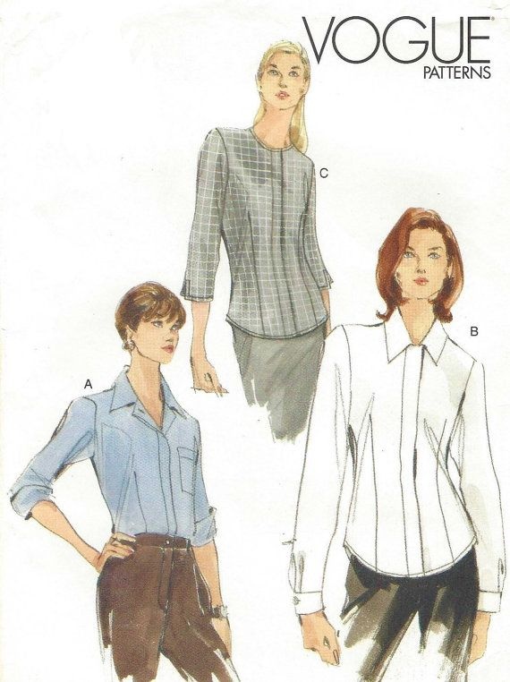 90s Vogue Pattern 7063 Womens Retro Blouses with Variations Size 6 8 ...