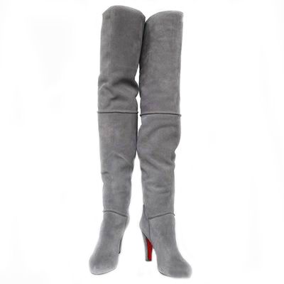 415a9042dc Christian Louboutin Contente 100 Thigh High Boots Suede Gray | I ...