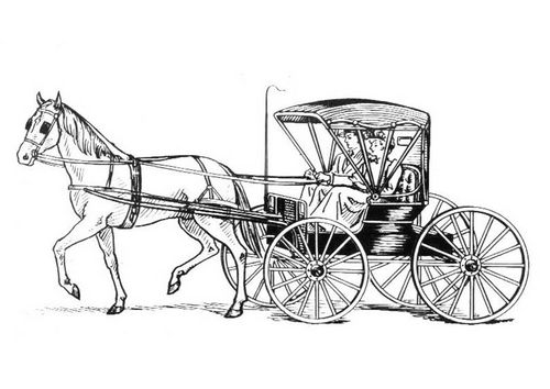 Coloring Page Horse With Carriage Stamp Horses