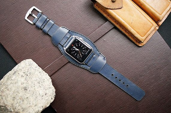 CUFF   Leather Strap  incl. Lugs Adapter for Apple Watch (Steel,Alu,Space Gray) 42mm or 38mm incl Buckle