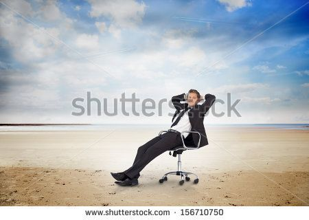 Don't like the pose, because it's arrogant, but live the contrast of the type of chair (office) and the beach.