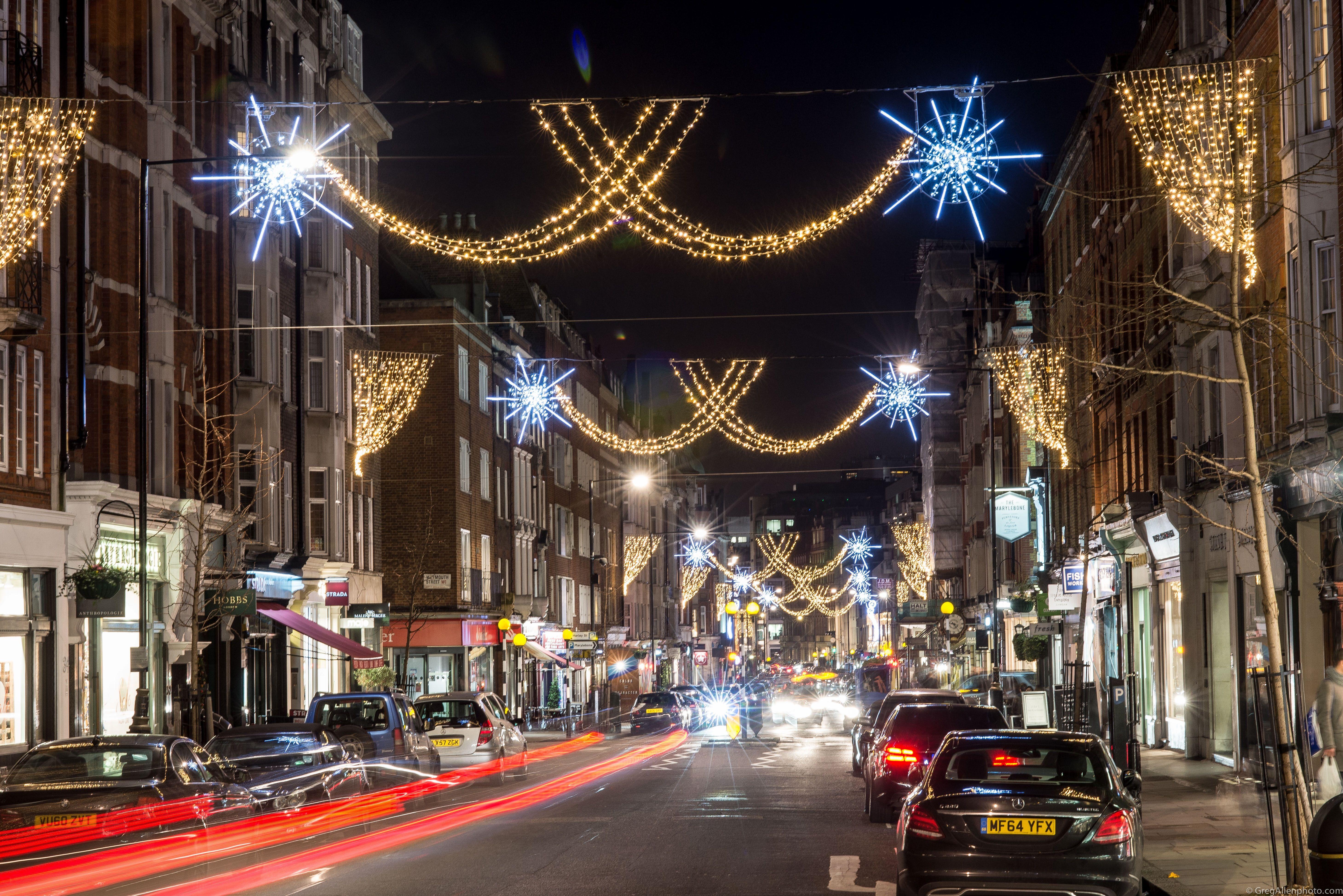 LED street motifs on Marylebone street London