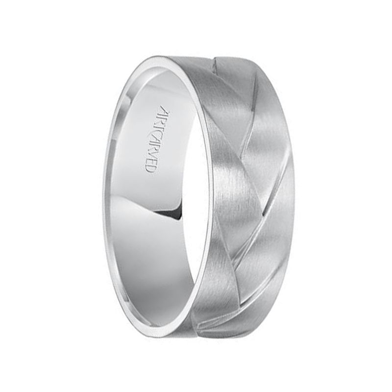 WADE 14k White Gold Wedding Band Braided Woven Design Satin Brushed Finish Flat Edges - 7 mm