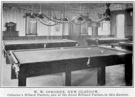 Osborne's Billard Parlors, one of the finest Billiard Parlors in this district.