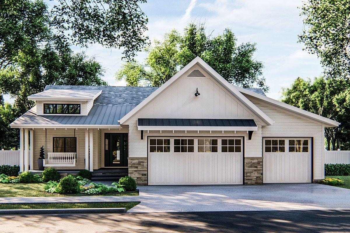Diese Moderne Cottage Ranch Mit 3 Betten Verfugt Uber Einen Attraktiven Giebel Uber Der Gara In 2020 Ranch House Exterior Ranch House Plans Craftsman Style House Plans