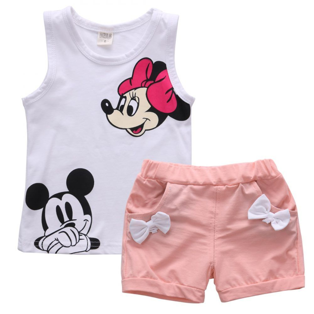 Kids Big Girl Cotton Cartoon Sleeveless Vest T-Shirt Tops Solid Color Shorts Pant Outfit Set Girl Summer Outfits
