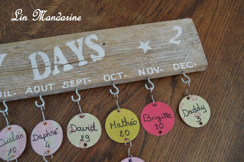Calendrier anniversaires diy pinterest calendrier for Badge fait maison