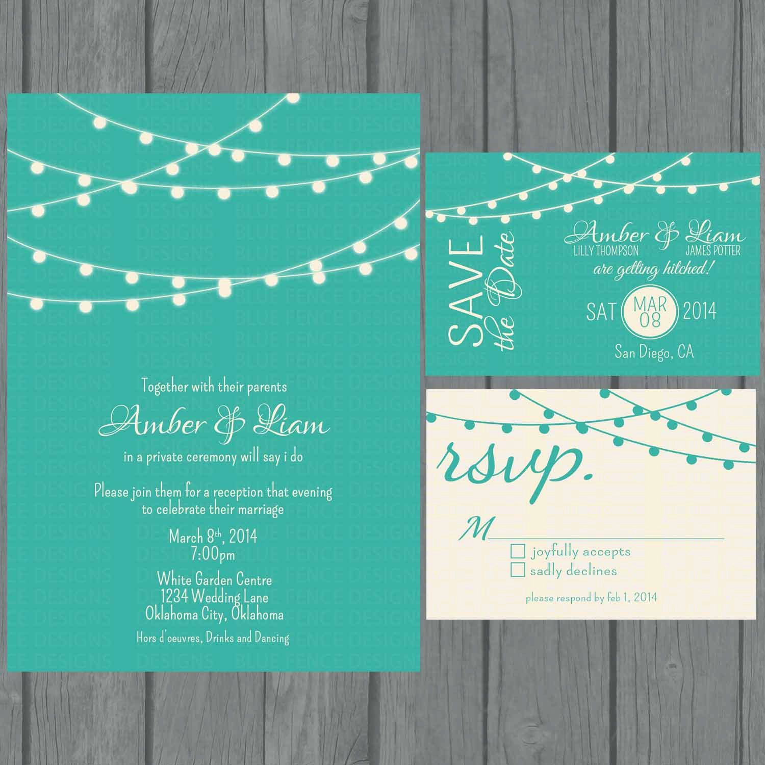 Digital String Lights Wedding Invitation Teal Non Traditional