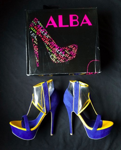 94cb176d6c Alba Platform High Stripper Heels Size 8 Shoes Blue Yellow With Box 6 034  Sharon