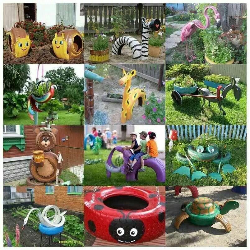 parke animals con llantas i neumaticos jardinería Pinterest - jardines con llantas