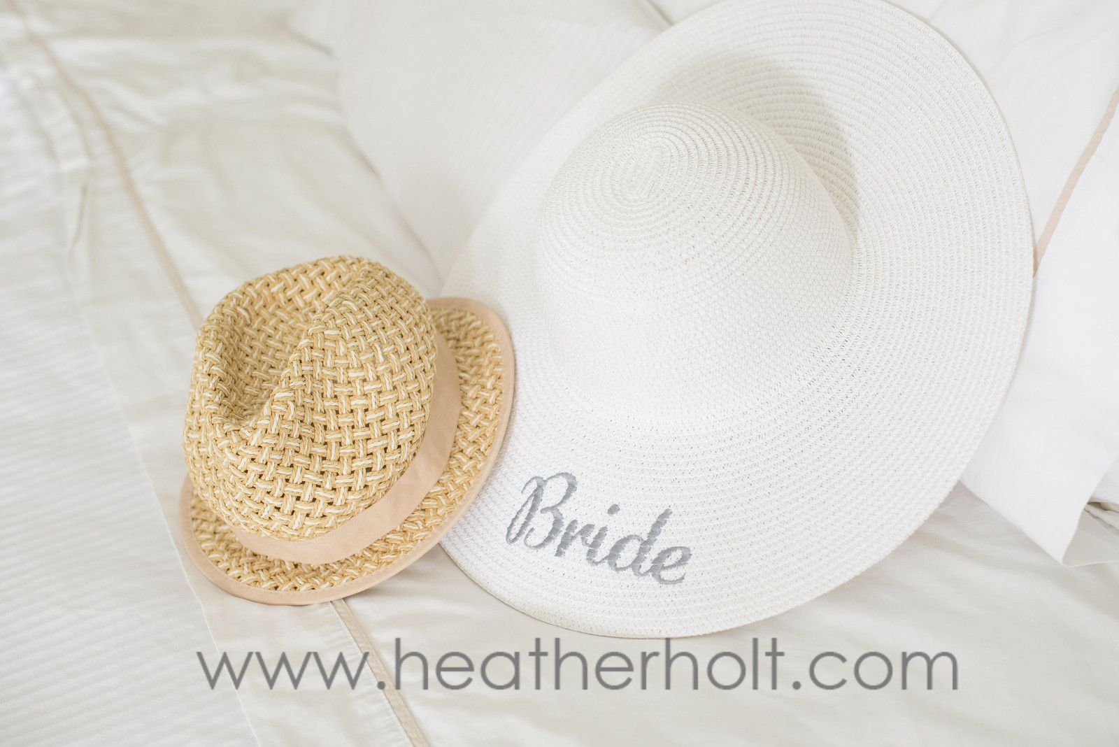 Beach wedding idea  Such a great beach wedding idea Every bride needs a custom sun hat