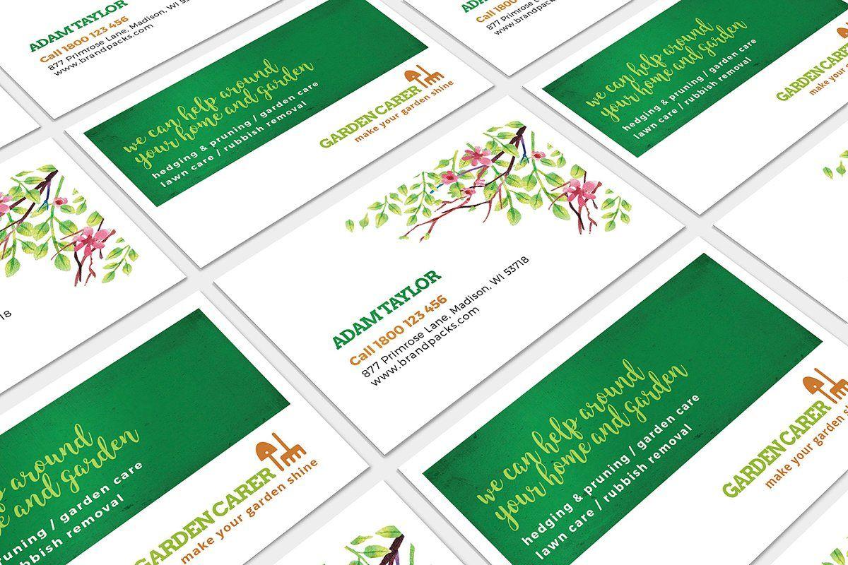Gardener Business Card Template Business Card Template Lawn Care Business Cards Landscaping Business Cards