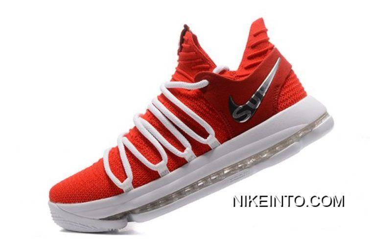 11b94de4e8f8 Supreme X Nike KD 10 University Red White Men s Basketball Shoes New ...
