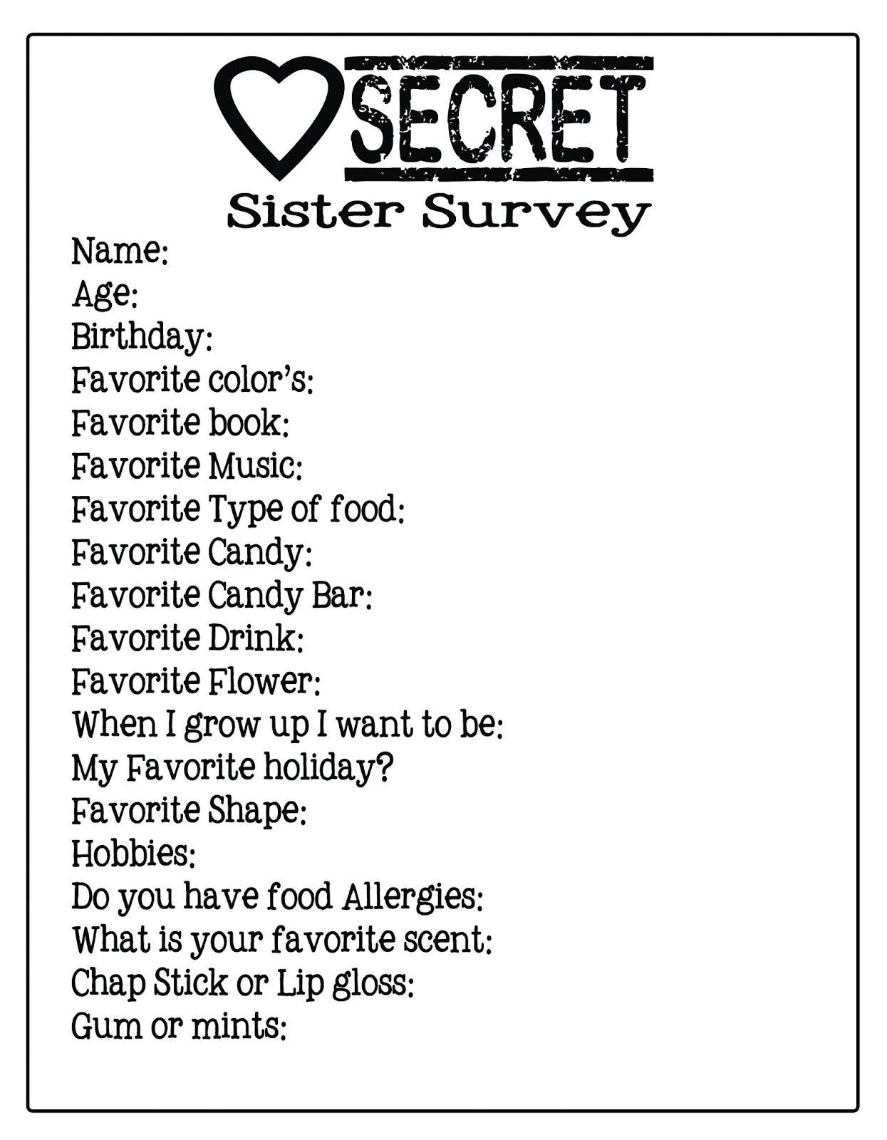 Secret Pal Questionnaire Form Sign-up Sheet | Secret santa, Secret ...