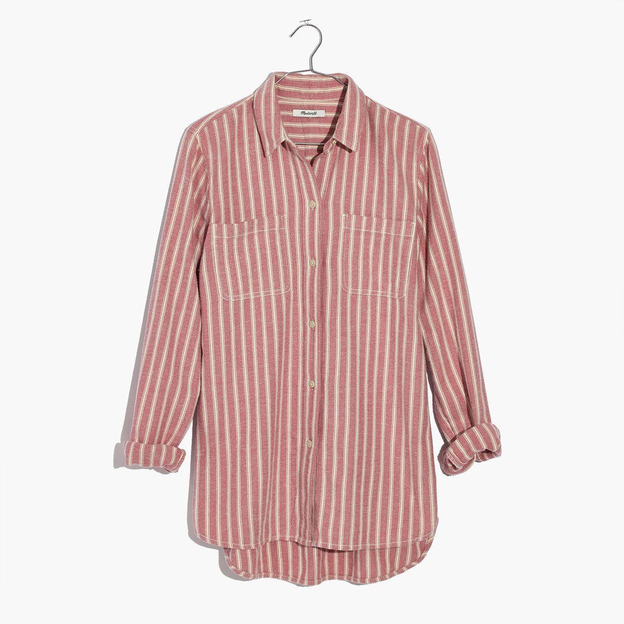 a7d291a11 Madewell Womens Flannel Classic Ex-Boyfriend Shirt In Craig Stripe ...