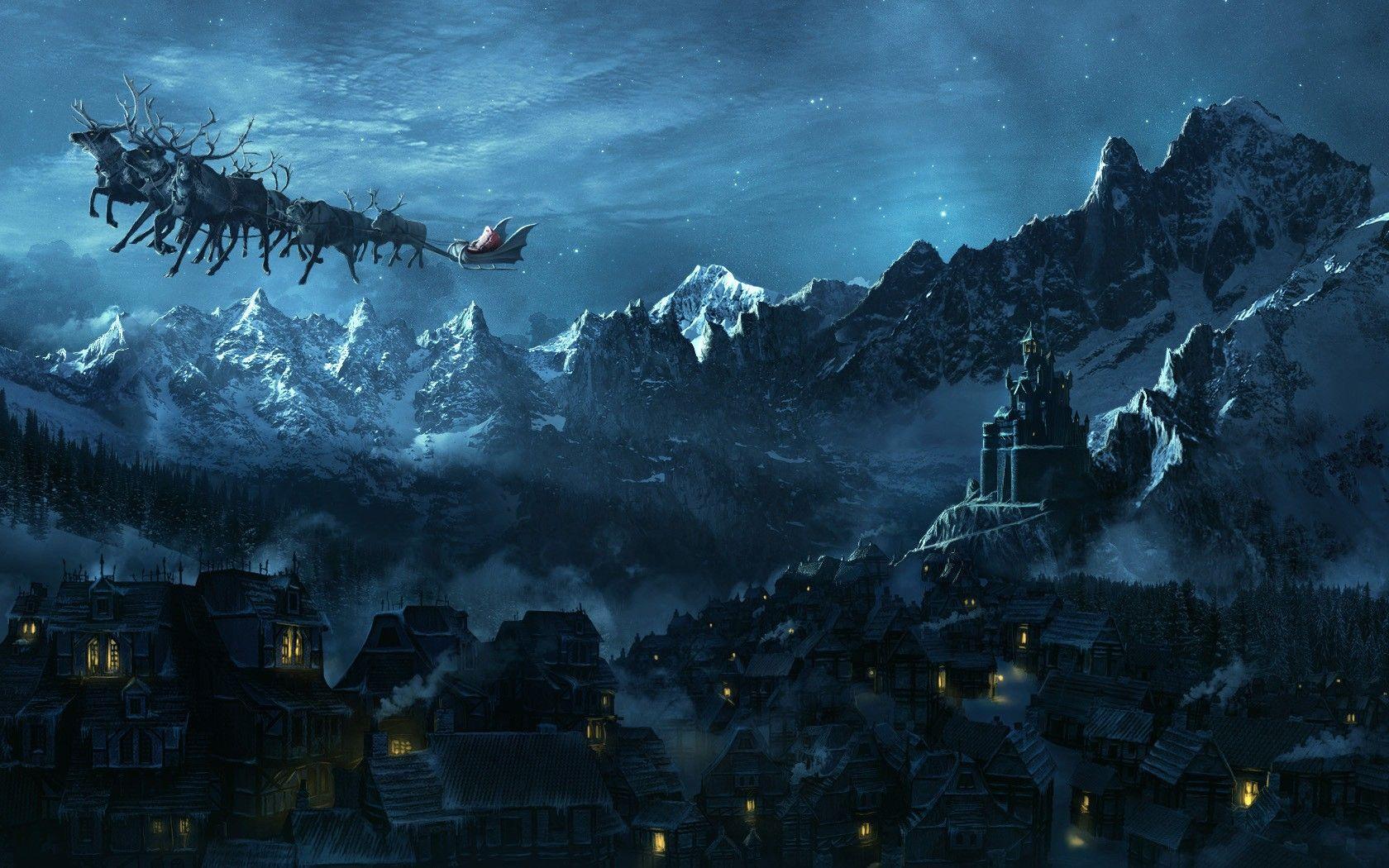 general 1680x1050 christmas santa claus landscape fantasy art castle