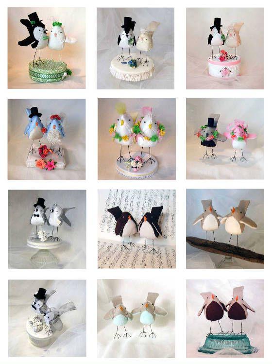 Handmade One Of A Kind Custom Designed Bird Cake Toppers