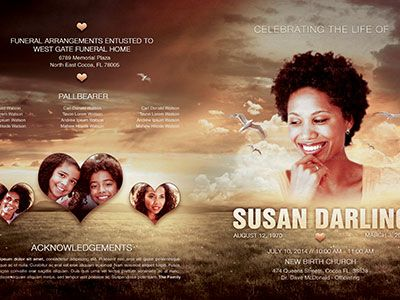 Life Of Love Funeral Program Template   Program Template