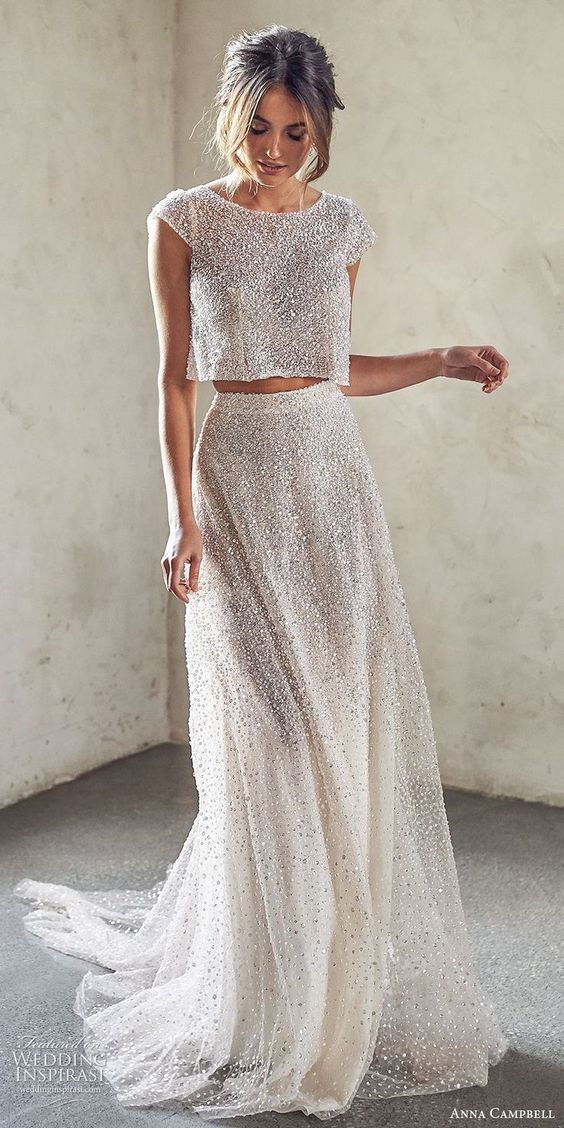 Photo of anna campbell 2020 brautkappenärmel juwelenhals vollständig verziertes bauchfr… #weddingdress – wedding dress