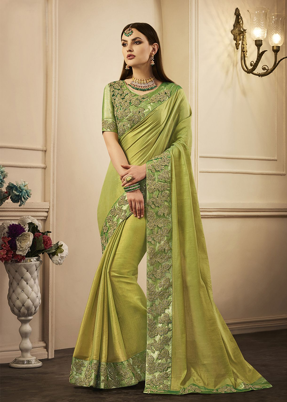 13b12754f9ed Designer Partywear Saree. #green #greensaree #ethnic #saree #2018 #partywear  #partywearsaree #wedding #weddingsaree #weddingclothes #fashion #outfit ...