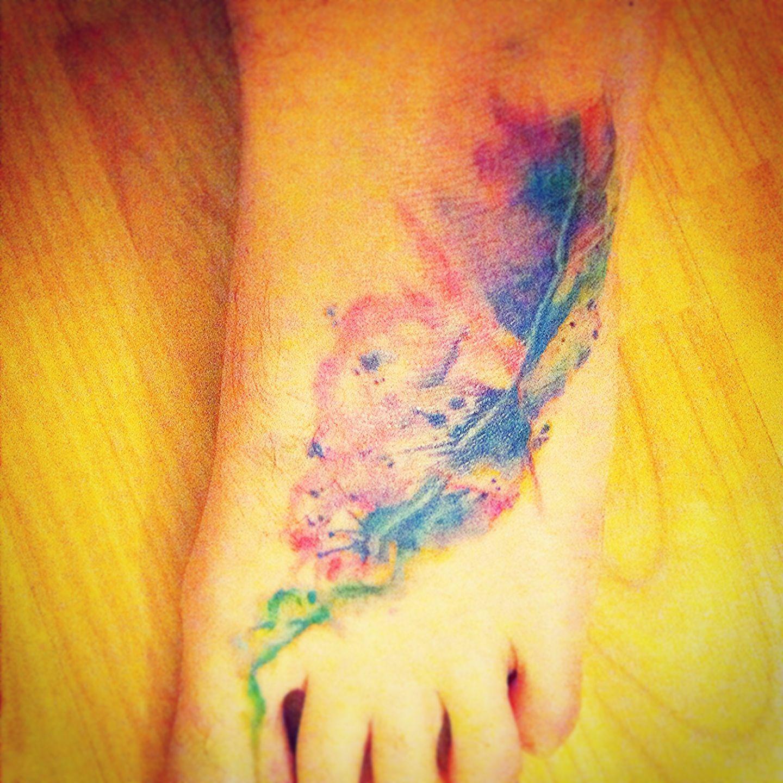 129e460f6 Fourth paint splatter foot tattoo Paint Splatter Tattoo, Painting Tattoo, Watercolor  Tattoo, Unique