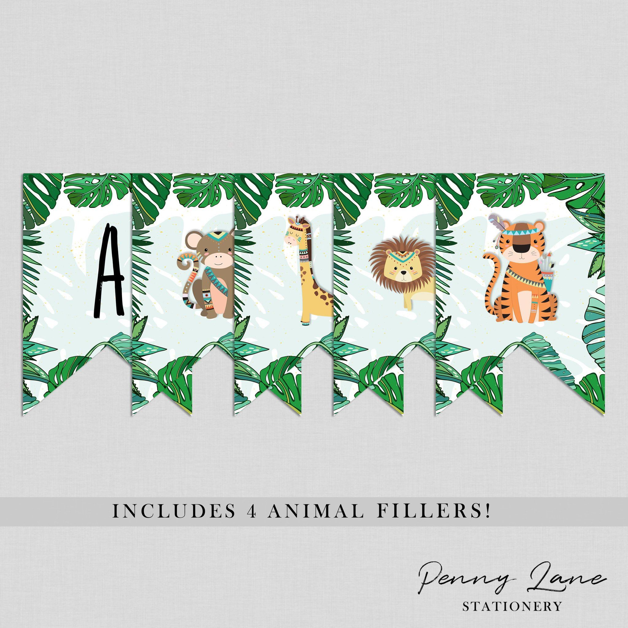 Safari Jungle Bunting Flag Birthday Banner