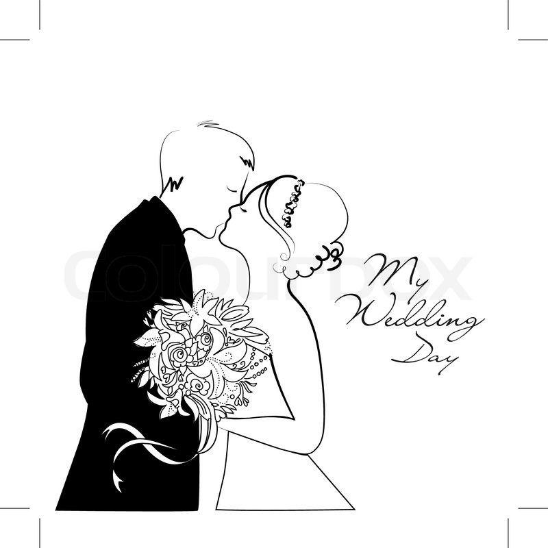 dessin couple mariage noir et blanc recherche google - Dessin Mariage