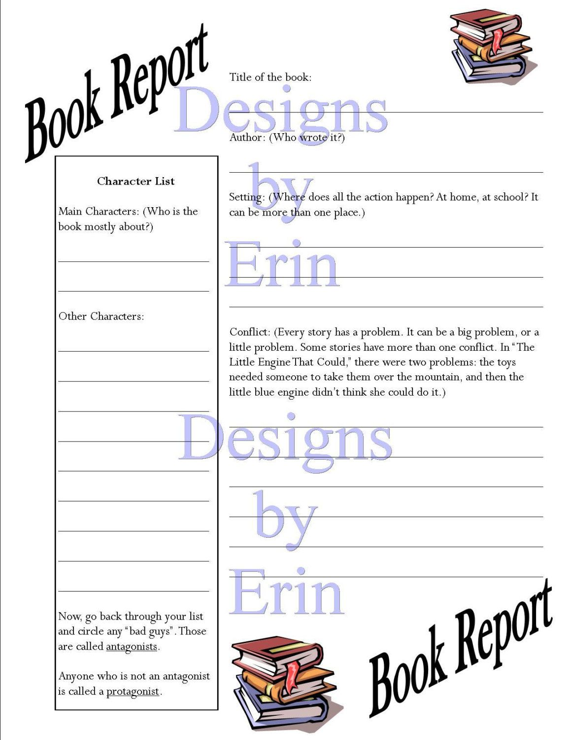 Book Report Worksheet By Heartbeatecho On Etsy 3 50