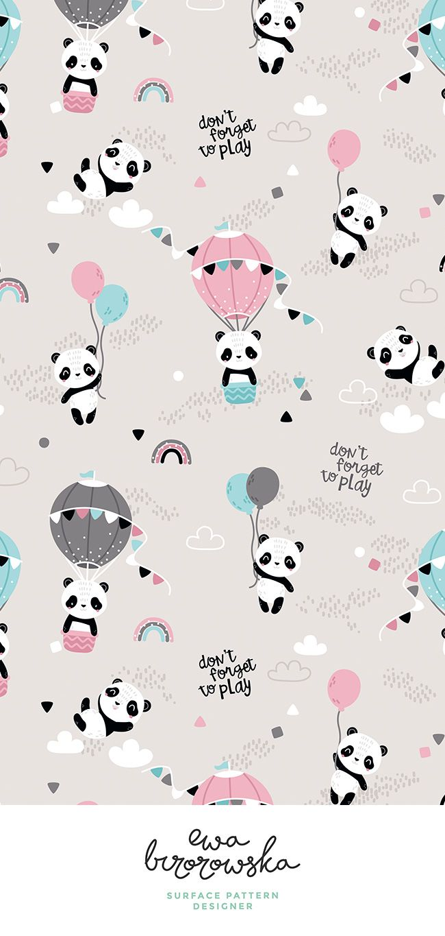 Colorful fabrics digitally printed by Spoonflower - Playful pandas - BIG - beige pink