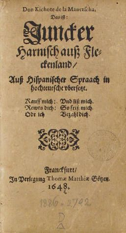 Don Quijote de la Mancha. Parte 1. Capítulo 1-22. Alemany :: Llibres impresos, Segles XVI-XVIII (Biblioteca de Catalunya)