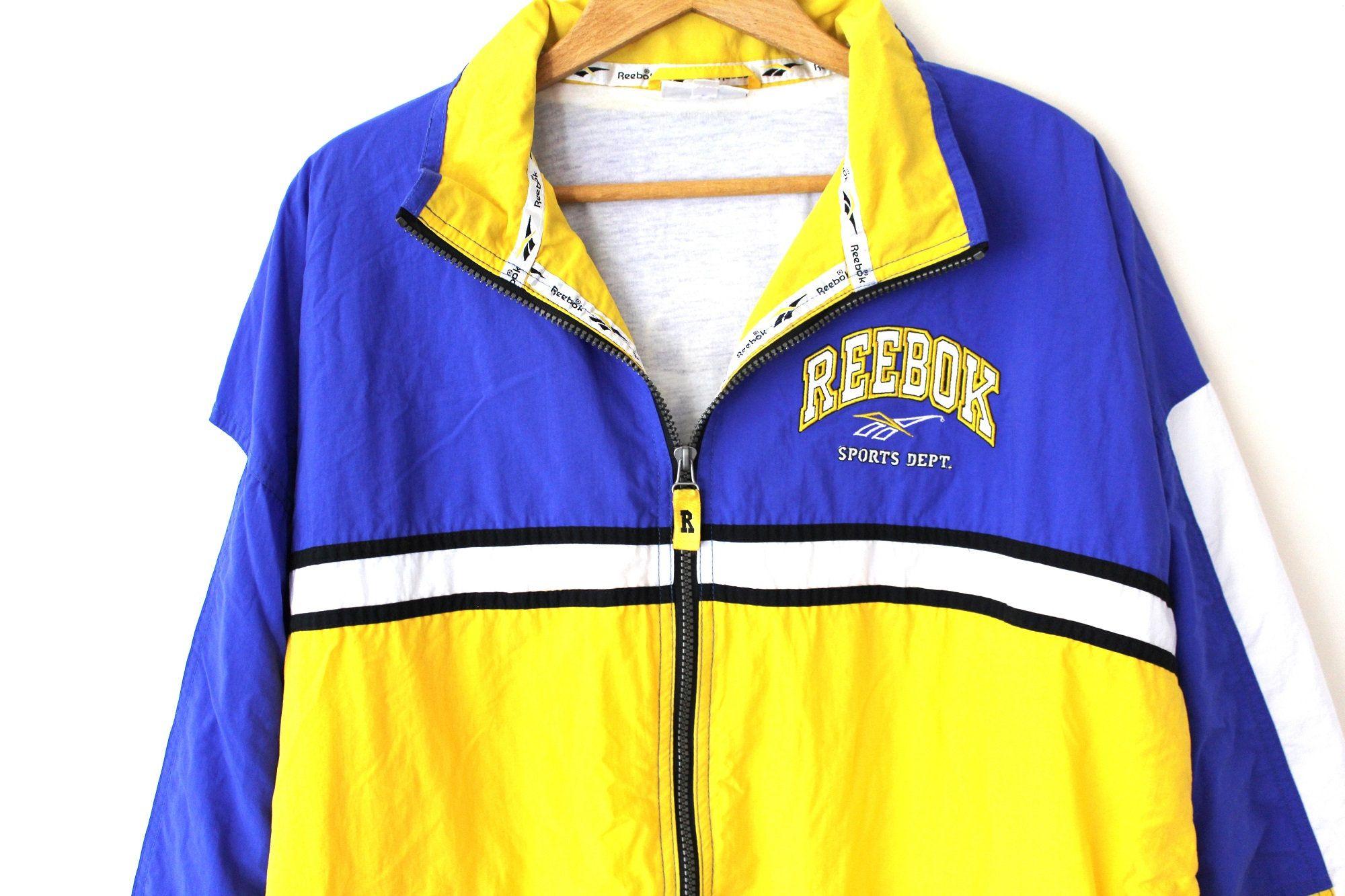 Very Rare Reebok Windbreaker Vintage Jacket Color Block Tracksuit Retro Yellow Blue White Zipped Sweatshirt Hip Hop Size Xl Vintage Jacket Windbreaker Jackets [ 1333 x 2000 Pixel ]
