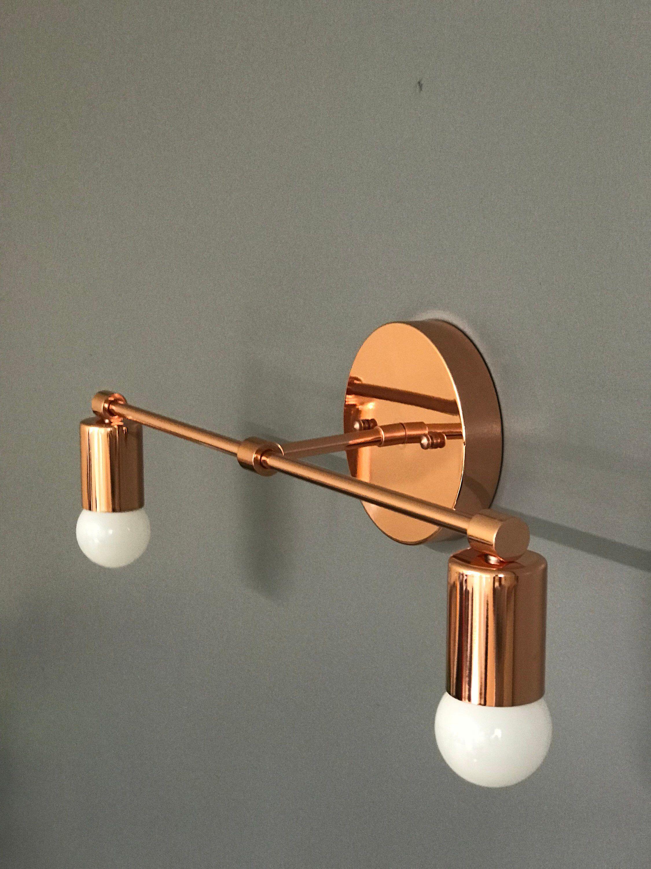 Polished Copper Wall Sconce 2 Bulb Vanity Light Fixture Bathroom Li Modern Bathroom Vanity Lighting Bathroom Wall Light Fixtures Light Fixtures Bathroom Vanity