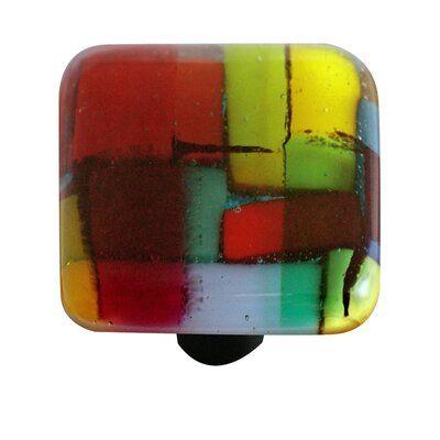 "AquilaArtGlass Artist Mosaic 1 1/2"" Length Square Knob   Wayfair"