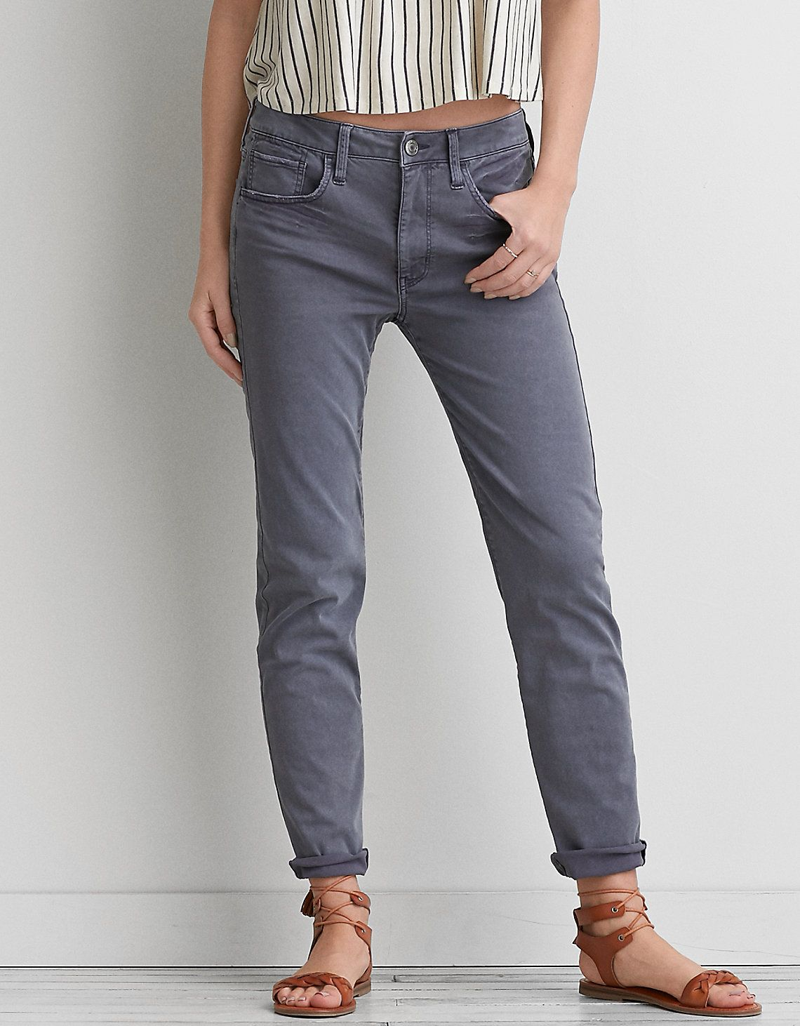 3f552793bd American Eagle Outfitters. Tom Girl pant in smoked gray | Style ...