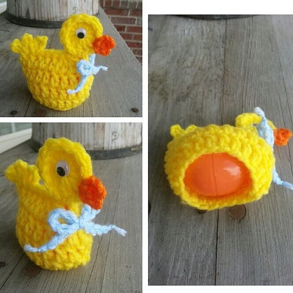 Crochet easter egg DUCK cozy, fun, seasonal, & cute. covers plastic ...