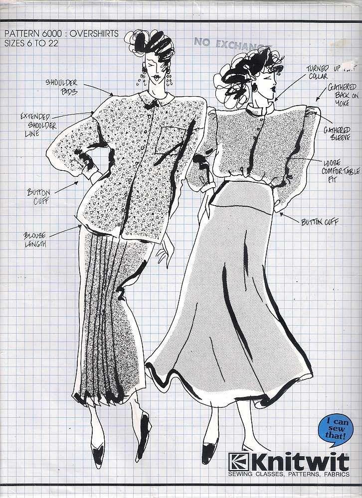 Knitwit pattern 6000 overshirts, sewing pattern, dressmaking pattern ...