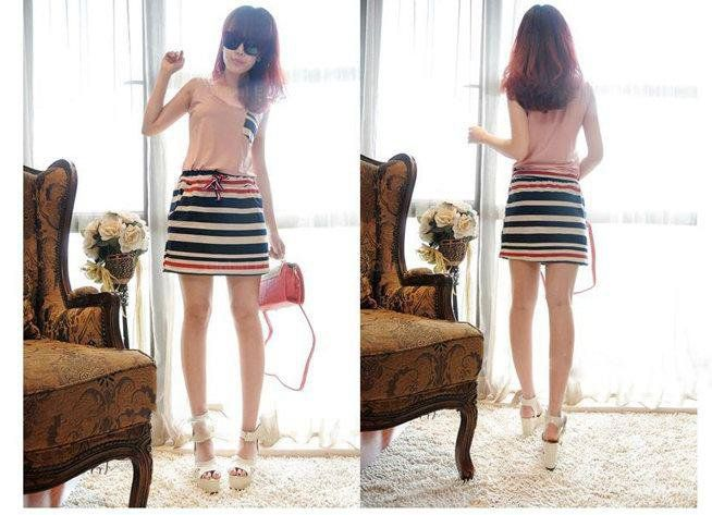 Slimming Stripes Pocket Pattern String Sleeveless Scoop Neck Cotton Blend Dress For Women on Wanelo