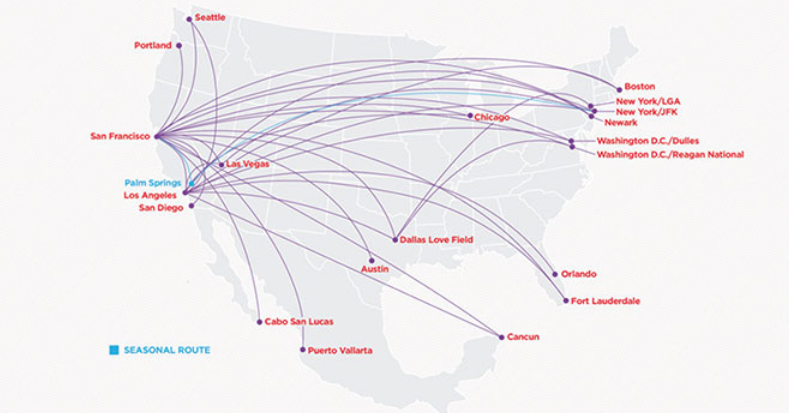 Virgin America Route Map 2014 | ALH US Virgin America (VX ...
