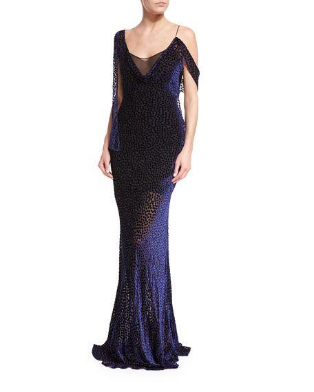 Sale Geniue Stockist Devoré-chiffon Gown - Purple Diane Von Fürstenberg Discount Very Cheap LS3jz