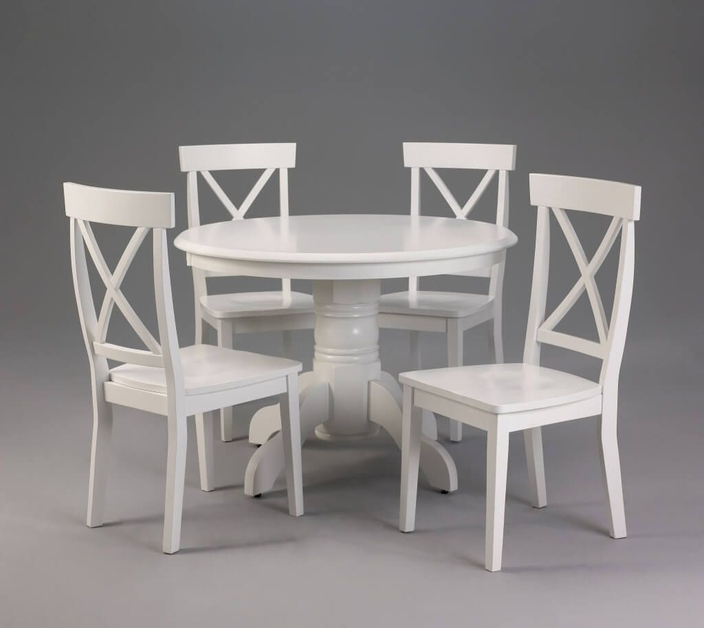 Round white kitchen tables and chairs