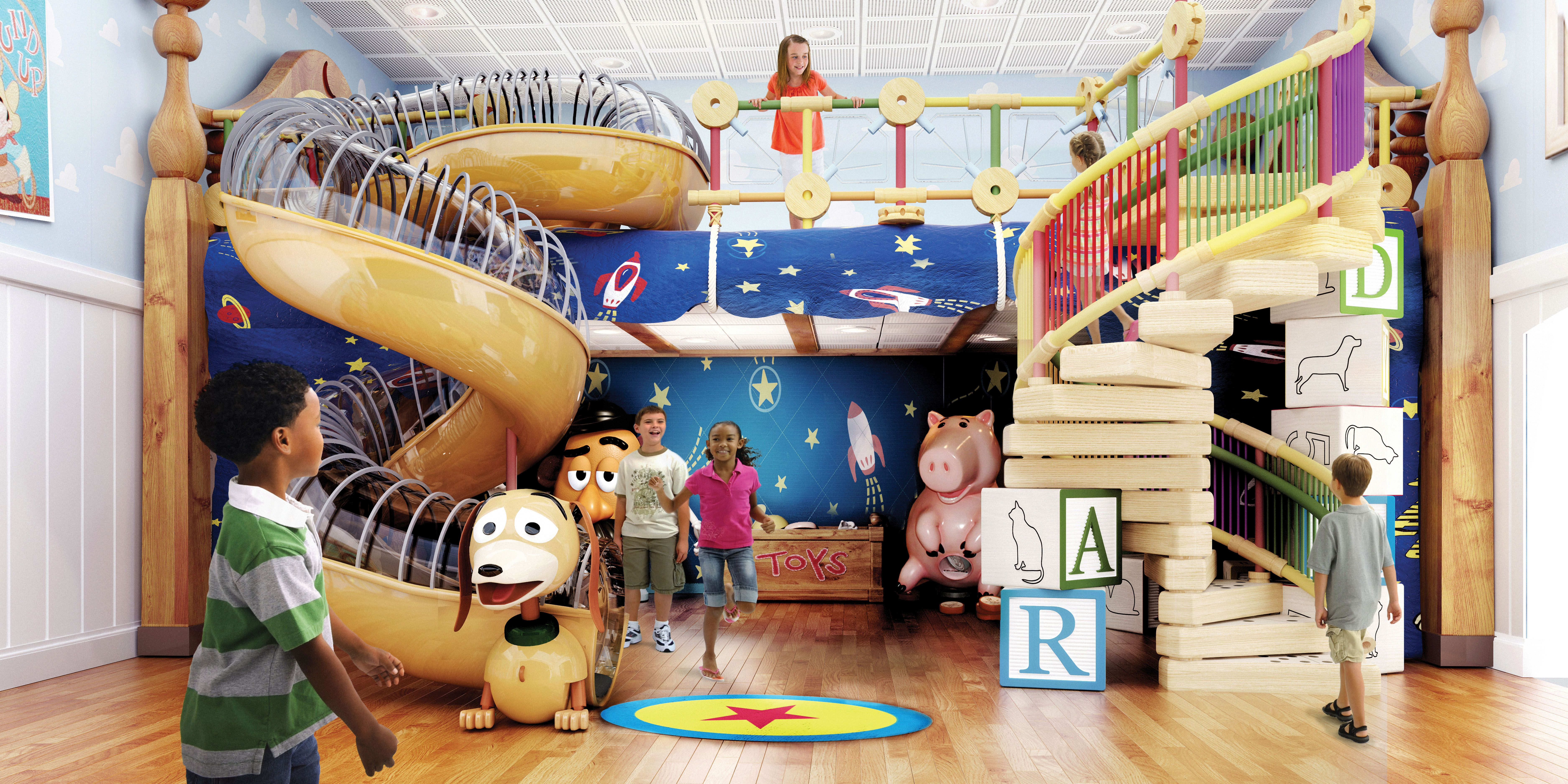 Andy's Room, familiar to kids from the Toy Story movies, offers places to climb; computers integrated into the walls, for games; costumes and props for make-believe.