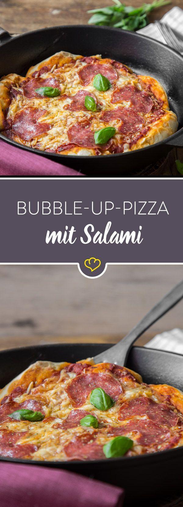 super fluffig bubble up pizza mit salami rezept essen pinterest rezepte kochrezepte. Black Bedroom Furniture Sets. Home Design Ideas