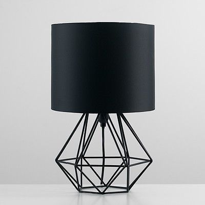 Geometric Retro Style Wire Cage Table Lamps Bedside Lights Copper Chrome Black Geometric Table Lamp Black Table Lamps Geometric Lamp