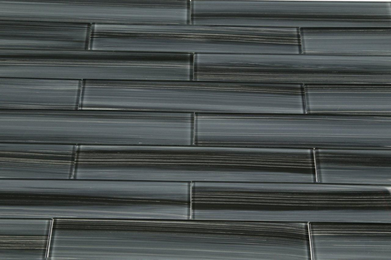 - Dark Gray Black 2x12 Subway Glass Tile For Kitchen Backsplash Or
