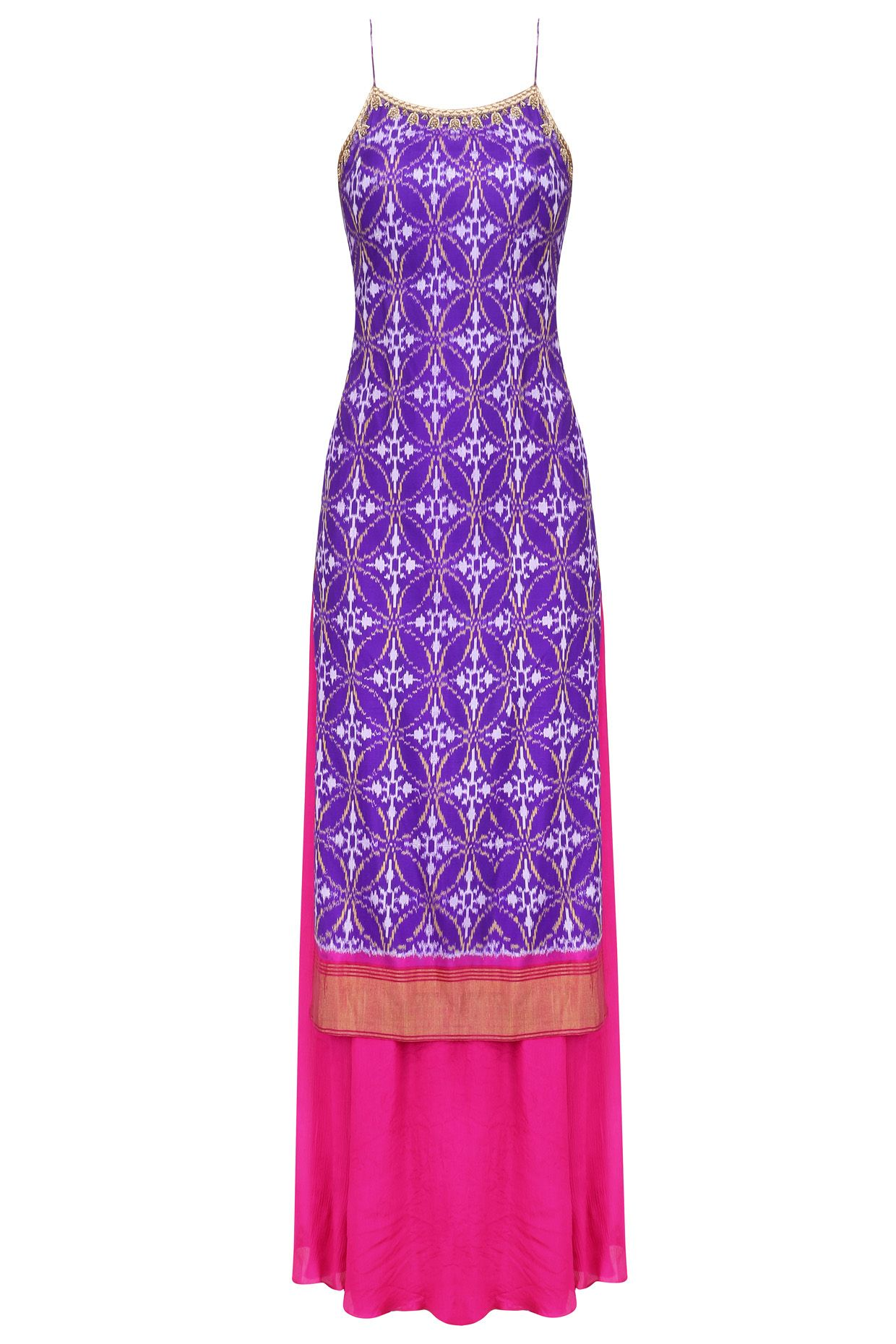 Purple ikat work strappy kurta with pink flared pants available only ...