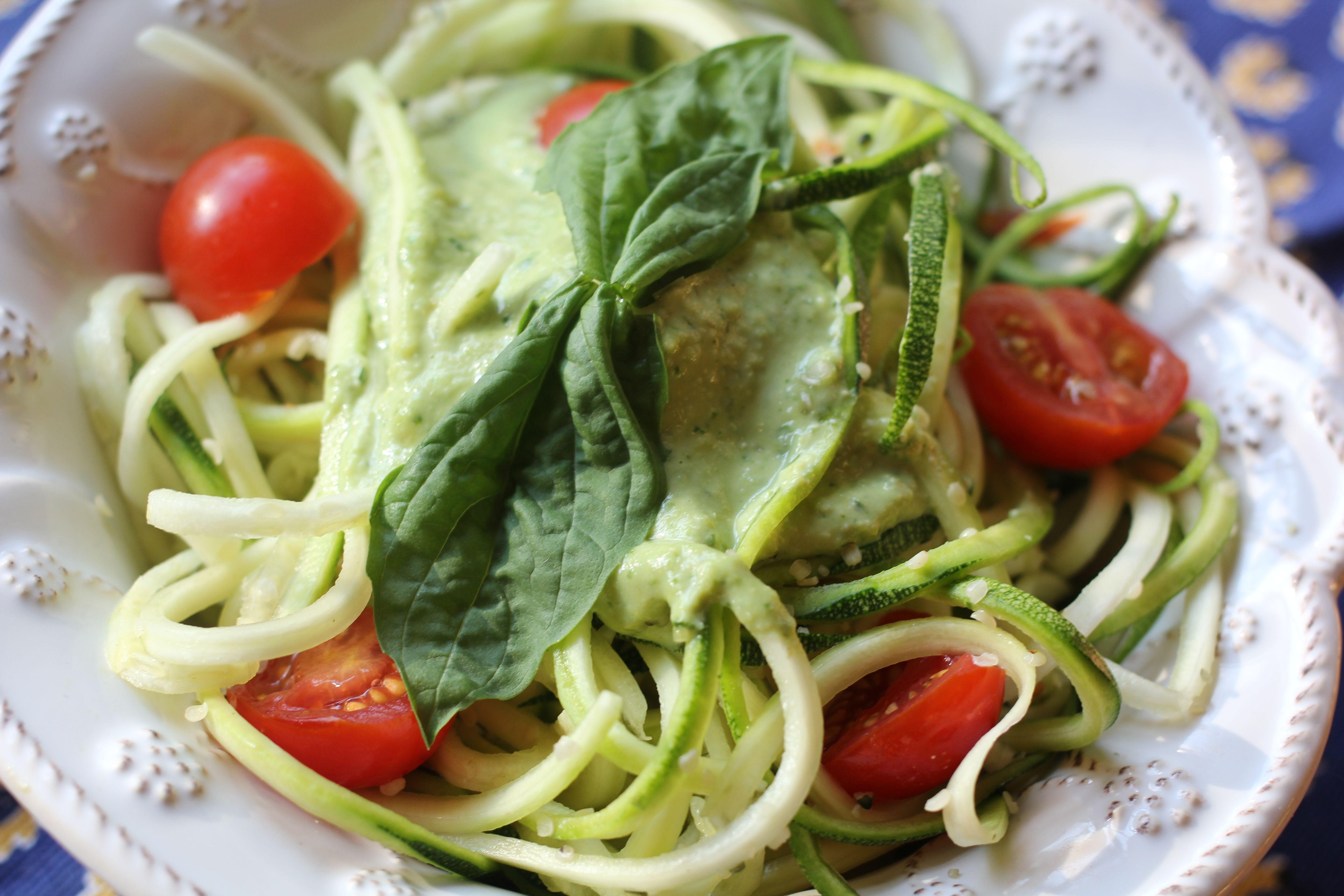 Raw zucchini pasta with fresh basil pesto thesubtlestatement raw zucchini pasta with fresh basil pesto thesubtlestatement vegan forumfinder Image collections
