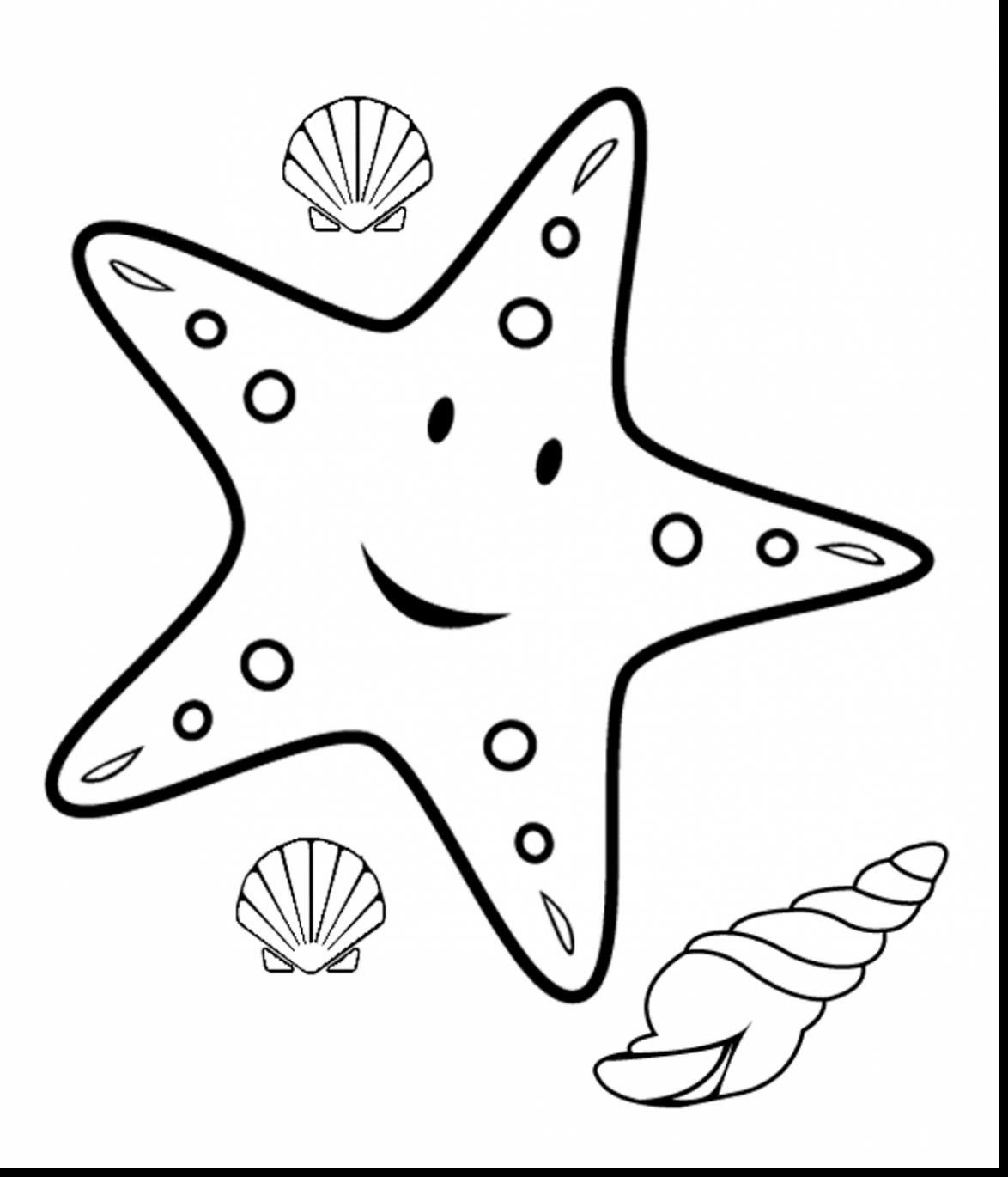 Excellent Starfish Outline Clip Art With Coloring Page