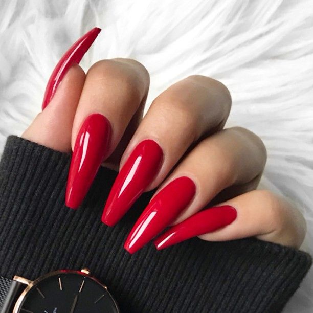 ✨ REPOST - - • - - Classic long red Coffin Nails ...