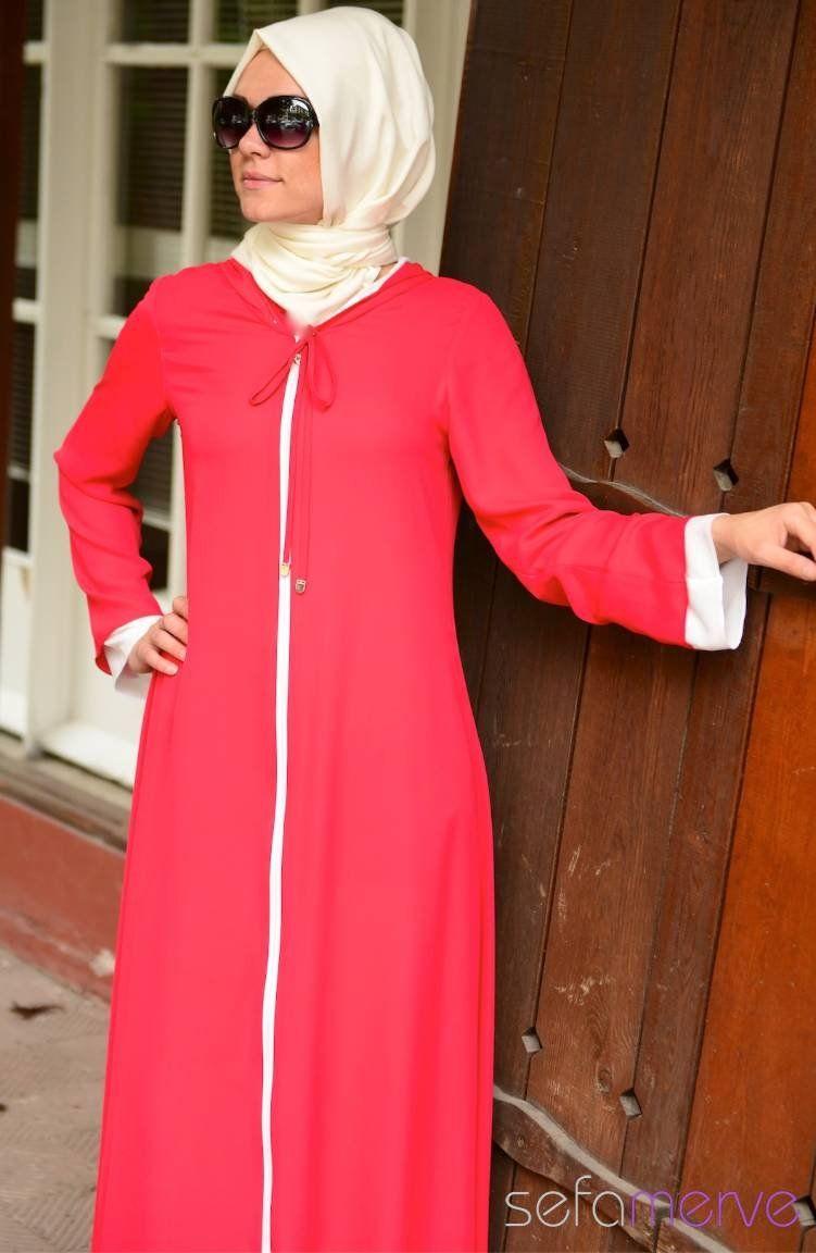 0de62a5de611c Şükran Ferace Yeni Sezon 35475-14 Kırmızı Beyaz | Islamic fashion ...